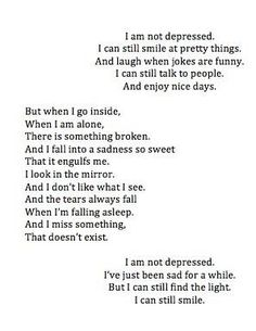 I am not depressed poem