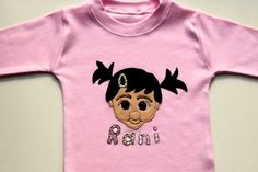 Custom applique design for birthday girl Rani from Parsnip & Bramble, British childrenswear company www.parsnipandbramble.co.uk My Design, Custom Design, Bramble, Applique Designs, Girl Birthday, First Birthdays, Baby Gifts, Little Girls, British