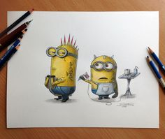 Currently browsing 25 Unusual Despicable Me Minions Artworks for your design inspiration Minion Art, Despicable Minions, Cute Minions, Minion Sketch, Minion Tattoo, Illustrations, Looks Cool, Tatting, How To Draw Hands