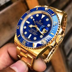 Rolex Submariner ⚜️Gold With 🔵Blue Dial And. Rolex Submariner Gold, Gold Rolex, Rolex Gmt, Rolex Datejust, Rolex Watches For Men, Luxury Watches For Men, Cool Watches, Wrist Watches, Automatic Skeleton Watch