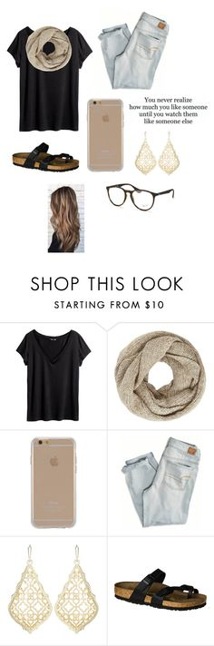 """""""school ."""" by mallory-d ❤ liked on Polyvore featuring Love Quotes Scarves, H&M, John Lewis, Agent 18, American Eagle Outfitters, Kendra Scott, Birkenstock and Ray-Ban"""