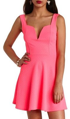 Neon Pink Skater Dress by Charlotte Russe. Buy for $17 from Charlotte Russe