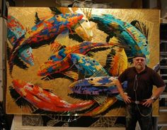 Fish Series artist Frank Hyder with one in his series...