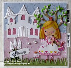 Anja Zom kaartenblog: Prinsesje en ridder Kids Cards, Cards Diy, Marianne Design, Princess Birthday, Birthday Cards, Card Making, Paper Crafts, Princess Cards, Christmas Ornaments