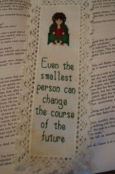 Lord of the Rings Cross Stitch Bookmark by CraftTimeinArkham - shows not available and no pattern, but it's cute Cross Stitch Bookmarks, Beaded Cross Stitch, Cross Stitch Kits, Cross Stitch Embroidery, Embroidery Patterns, Cross Stitch Patterns, Tolkien, Filet Crochet, Craft Patterns