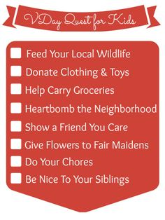 I love this inspiring list from @Stacy of KSW Valentine's Day acts of kindness for kids (NO candy or crafting involved!)