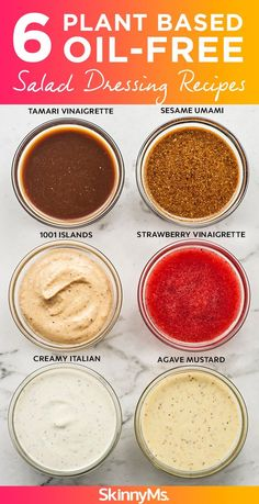 There s a reason these dressings are so popular right now 6 Plant Based Oil-Free Salad Dressing Recipes plantbased vegan healthyrecipes cleaneating # Vegan Sauces, Vegan Foods, Vegan Dishes, Oil Free Salad Dressing, Salad Dressing Recipes, Fat Free Salad Dressing Recipe, Vegan Ranch Dressing, Fat Free Italian Dressing Recipe, Vegan Recipes