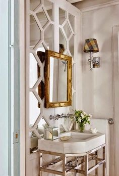 Fretwork Mirror -- a good idea to dress up a mirrored wall in a bathroom! Bad Inspiration, Bathroom Inspiration, Childrens Bathroom, Boho Home, Bath Design, Beautiful Bathrooms, Interiores Design, Interior And Exterior, Sweet Home