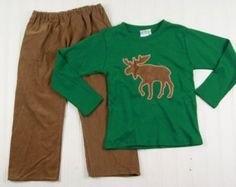 Boys Pants Outfit - Moose T-Shirt for Boys - Toddler Boy Clothes - Winter Toddler Clothes - Boys Christmas Outfit - Boys Corduroy Pants