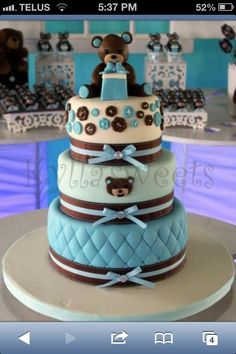 Baby shower cake idea.  for girl change blue to pink.