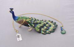 New Trinket Box Gift Crystals Strutting Peacock Bird Animal Necklace