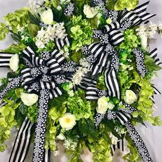 Green Black and White Spring and Summer Mesh Door Wreath