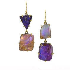 Boulder opal earrings from Margery Hirschey-- Earrings in oxidized sterling silver and 22k gold with Boulder opal, $3,575
