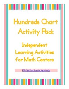 Here's an activity pack featuring 8 colorful Hundreds charts with missing numbers. Students may work in small groups or independently to fill in th...