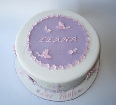 Leana?s Christening Cake - This was made last week, for my friends daughter LEANA & her Christening :)    Filled with Biscuit & Strawberry Cream ;)