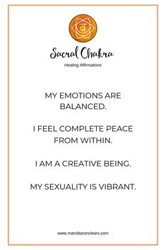 Our Sacral chakra is our creativity and creation center. It is our energetic center of sexuality, pleasure and passion. Solar Plexus Chakra Healing, Chakra Healing Meditation, Throat Chakra Healing, Daily Meditation, Healing Affirmations, Positive Affirmations, Chakra Meanings, Yoga Poses, Inspirational Quotes