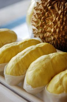 "Durian ""King of Fruit""  I don't give a damn how stinky they reportedly are, I can't wait to eat one of these babies."