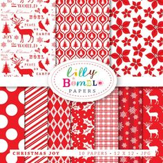 10 papers    300 dpi high resolution .jpgs.    12 x 12 inches    10 gorgeous red and white digital papers for the Holidays. Includes deer, birds, holly, poinsettas, trees, candy cane stripes and snowflakes. See the gallery section for more closeups of the papers.