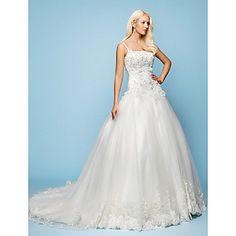 A-line/Princess+Spaghetti+Straps+Court+Train+Lace+Wedding+Dress+–+USD+$+475.99