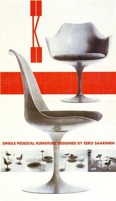 This Saarinen Tulip chair has a circular base, a molded form, and cushioned seat.