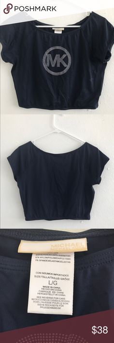 ✨Michael Kors Swim Crop Top✨ 🌞Navy Michael Kors Crop Top Swim Shirt🌞 Great for the beach and it also looks good as a normal shirt🌞 Used once for the beach 🌊 Michael Kors Swim Coverups