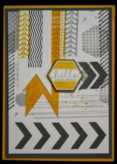 Paula's Paper Crafting: Hexagon Punch & Chevron Border Punch Card