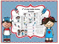4th of July Toddler Number Printable from Preschool Printables on TeachersNotebook.com -  (28 pages)  - Printable: The activities in this pack are designed to have fun while the child learns a variety of preschool concepts including number, color, patterns, sequence, size, letters and more.