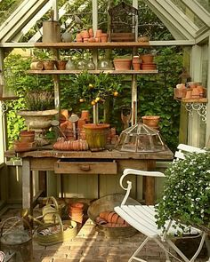 If I had a greenhouse or potting shed that was this beautiful, I think I would live in it. If I had a greenhouse or potting shed that was this beautiful, I think I would live in it. Greenhouse Shed, Small Greenhouse, Greenhouse Gardening, Greenhouse Wedding, Greenhouse Film, Portable Greenhouse, Backyard Greenhouse, Backyard Sheds, Outdoor Sheds