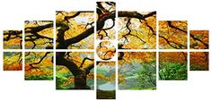 Startonight Canvas Wall Art Maple Multi, Nature Tree Yellow, Landscape USA Design for Home Decor, Dual View Surprise Wall Art Set of 15 Total 39.37 X 82.7 Inch Original Art Painting! *** You can get more details by clicking on the image.