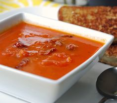 I love dunking in my grilled cheese sandwiches into this delicious and hearty Slow Roasted Tomato Soup. Roast Tomato Soup Recipe, Tomato Soup Recipes, Slow Roasted Tomatoes, Roasted Tomato Soup, Grilled Sandwich, Soup And Sandwich, Blender Food Processor, Food Processor Recipes, Easy Appetizer Recipes