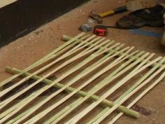 ▶ Bamboo Wattle and Daub - YouTube ... creating walls for housing the ancient way. pretty cool!