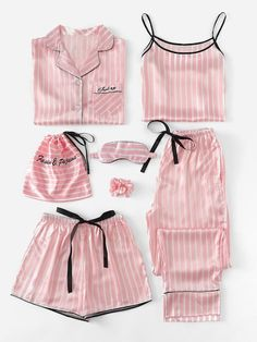 Shop Plus Letter Embroidered Striped Satin PJ Set online. SHEIN offers Plus Letter Embroidered Striped Satin PJ Set & more to fit your fashionable needs. Satin Pyjama Set, Satin Pajamas, Pyjamas, Pink Silk Pajamas, Silk Pj Set, Cute Sleepwear, Lingerie Sleepwear, Loungewear, Nightwear