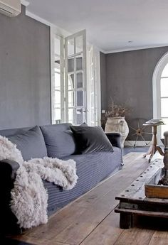 bedroom - grey walls, white furniture and accent colors? Living Room Grey, Living Room Modern, Home And Living, Living Spaces, Living Rooms, Gray Interior, Interior Design, Country Interior, Rustic Contemporary
