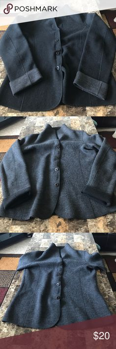 Reversible blazer Black and dark grey it's reversible! Excellent condition, thick warm fabric perfect for fall or winter ling sleeve has button and velcro closure Jackets & Coats Blazers