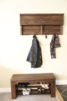 Pallet Shoe Rack Bench Pallet Shoe Rack by RusticSoulCreations