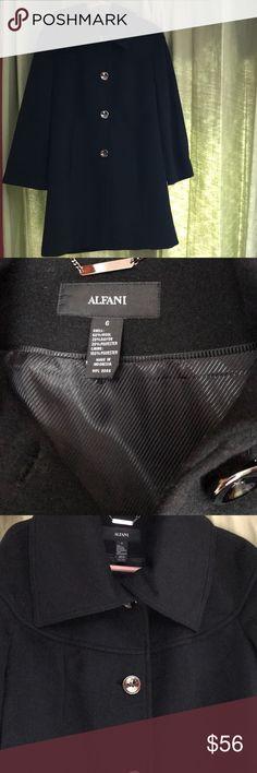 Alfani 6 Womens' Black Wool Pea Coat Winter Button Size 6 Womens' Alfani  Black Wool Pea Coat  Buttons Lined Worn only a few times; like new. Beautiful condition, beautiful coat. Thank you Alfani Jackets & Coats Pea Coats