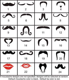 1  Moustache and/or Lips Decals AND Names  Choice of by gotdecalz, $1.75