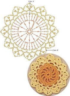 Crochet Snowflake Pattern, Crochet Coaster Pattern, Crochet Doily Diagram, Crochet Mandala Pattern, Crochet Stars, Crochet Circles, Granny Square Crochet Pattern, Crochet Flower Patterns, Crochet Puff Flower
