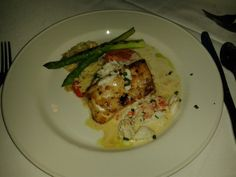 Chilean Sea Bass with asparagus tomatoe orzo at the Chart house in Atlantic City, NJ