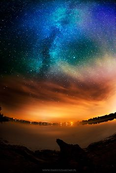 Fish-eye night sky.