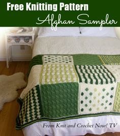 Free Knit Afghan Sampler Pattern from Season 3 of Knit and Crochet Now! TV. Every other episode features a different square. This free knitting download includes free patterns for all 6 Knit Sampler Afghan Squares. Learn more here: http://www.knitandcrochetnow.com.