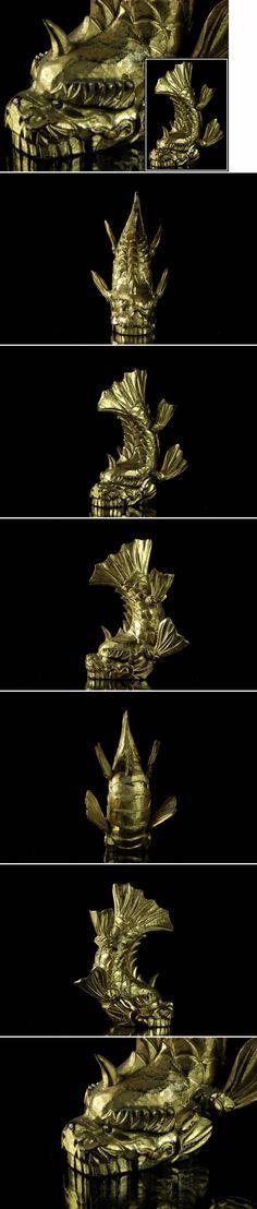 ◆廻◆ 時代 木彫 鯱前立 18cm しゃちほこ 鍍金 細... - ヤフオク!