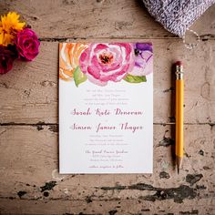 Rustic Wedding Invitations - Painted Ranunculus - shabby chic, vintage,  floral, watercolor, invitation suite, flowers, featured