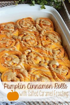 Pumpkin Cinnamon Rolls with Salted Caramel Frosting - Amazing homemade yeast…