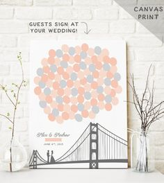 San Francisco Wedding Guest Book alternative with couple on the golden gate bridge and balloons for guests to sign. See more here: https://www.etsy.com/listing/109870033/canvas-wedding-guest-book-alternative?ref=shop_home_feat_3