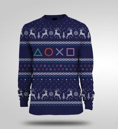 These Ugly Gaming Christmas Sweaters by Yellow Bulldog are as cool as kitsch can get. Featured in Street Fighter, Sonic the Hedgehog and PlayStation flavors. Christmas Jumpers, Ugly Christmas Sweater, Ugly Sweater, Sweater Weather, Being Ugly, Cool Outfits, Shirts, Clothes, Xmas