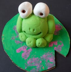 Rolling balls: Model Magic/clay frog; painted & stamped cardboard lily pad