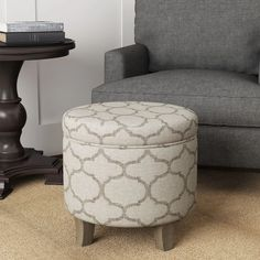 Shop Carson Carrington Hnifsdalur Round Storage Ottoman Flared Wood Leg Grey Textured - On Sale - Overstock - 14220841 Round Storage Ottoman, Round Ottoman, Tiny Living Rooms, Fabric Ottoman, Brown And Grey, Gray, Home Decor Items, Storage Spaces, Upholstery