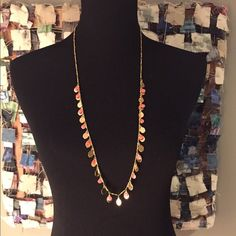 """J crew gold and orange necklace A gold necklace with orange accents. 32"""" long and only worn once, excellent condition. J. Crew Jewelry Necklaces"""