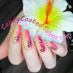"""Candy Coated Talons FB page, July """"My tropical inspired main, I used RCM """"Pineapple Premiere"""", """"Ravishing Raspberry"""" and """"Star Power"""" to do my fade and applied the adorable nail appliques over top! Fading Nails, July 24, Appliques, Raspberry, Pineapple, Nail Designs, Tropical, How To Apply, Nail Art"""
